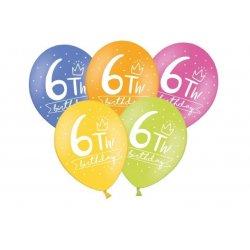 Balon 30cm szóstka- lateksowy, różne kolory pastel