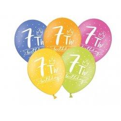 Balon 30cm siódemka- lateksowy, różne kolory pastel