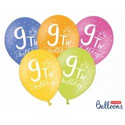 Balon 30cm dziewiątka- lateksowy, różne kolory pastel