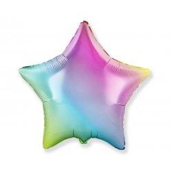 Balon foliowy - gradient pastelowy - gwiazdka 18' (45 cm)