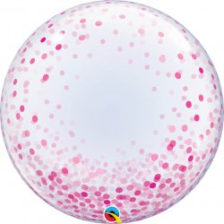 Deco Bubble Pink Confetti Dots Qualatex - 61 cm