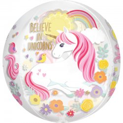 "Balon Orbz Kula - ""Believe in Unicorns"" 38 x 40 cm - 16 cali"