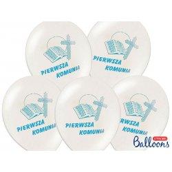 Balony na Komunie - pastelowe białe z napisem Pierwsza Komunia