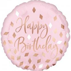 """Balon """"Happy Birthday"""" pastelowy róż - 43 cm"""
