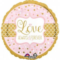 "Balon foliowy z napisem ""Love Always & Forever"" 71 cm"