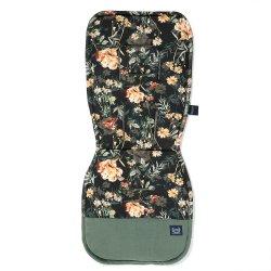 Stroller Pad Organic Jersey, Blooming Boutique Noir, Velvet Khaki