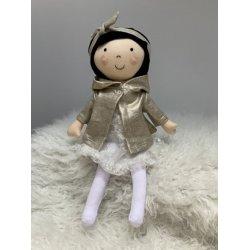 Lalka Ada brunetka w sukience i płaszczyku