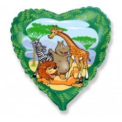 """Balon foliowy - Zwierzęta w dżungli - 18"""" (45 cm)"""
