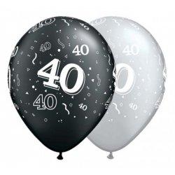 """Balon QL 11"""" na 40 urodziny - pastel czarny, srebrny"""