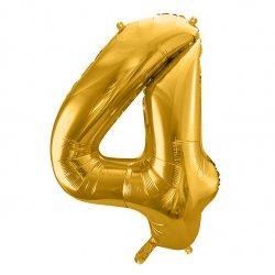 """Balon Foliowy 34""""(cale) Cyfra 4 ZŁOTY"""