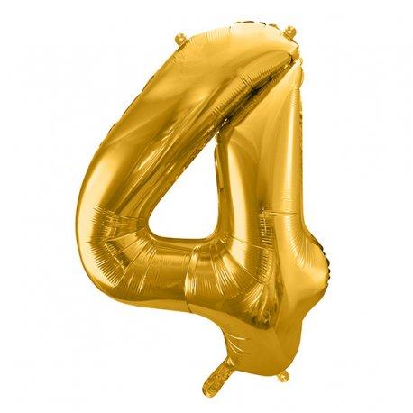 Balon Foliowy Cyfra 4, złota, 86 cm