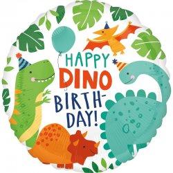 """Balon foliowy """"Happy Dino Birthday"""" urodzinowy - 43 cm"""