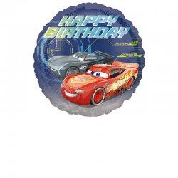 "Balon Foliowy Auta (Cars) - ""Happy Birthday"" - 43 cm"