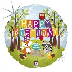 Balon foliowy - Woodland - Happy Birthday - 46 cm