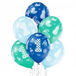 Balon 30cm Pierwsze Urodziny - 1st Birthday Boy - lateksowy, różne kolory pastel