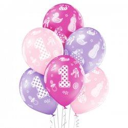 Balon 30cm Pierwsze Urodziny - 1st Birthday Girl - lateksowy, różne kolory pastel