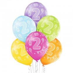 Balon lateksowy Dwójka - 30 cm - Miks kolorów pastelowych
