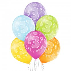 Balon lateksowy Trójka - 30 cm - Miks kolorów pastelowych