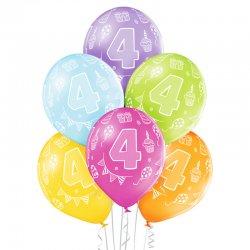 Balon lateksowy Czwórka - 30 cm - Miks kolorów pastelowych