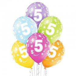 Balon lateksowy Piątka - 30 cm - Miks kolorów pastelowych