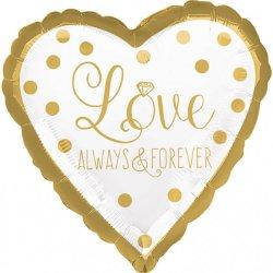 Balon foliowy Serce - Gold Wedding - Love Always & Forever