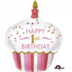 Holograficzny balon na 1 urodziny, Cupcake Girl 73 x 91cm