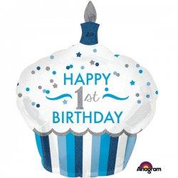 Holograficzny balon na 1 urodziny chłopca, Cupcake Boy 73 x 91cm