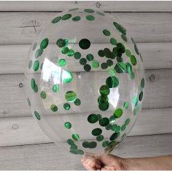 Balon z zielonym konfetti, 12 cali