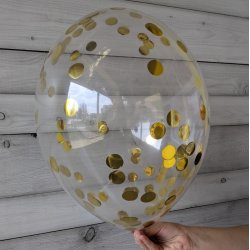 Balon ze złotym confetti, 12 cali