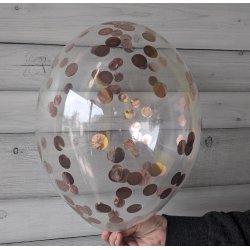Balon z różowo-złotym confetti, 12 cali
