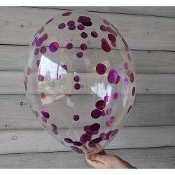 Balon z różowym confetti, 12 cali