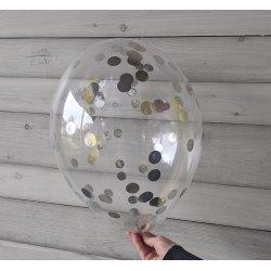 Balon ze srebrnym confetti, 12 cali