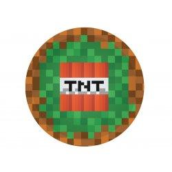 """Talerzyki papierowe """"Piksele - Minecraft"""" - 6 sztuk - 18 cm"""