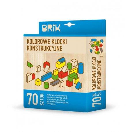 Drewniane Klocki BRIK 70szt, kolorowe