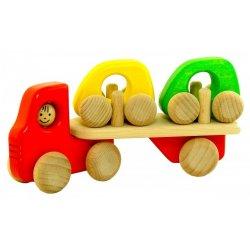 Bajo 41430 - Autotransporter H1 Ciężarówka z Dwoma Autkami z Drewna