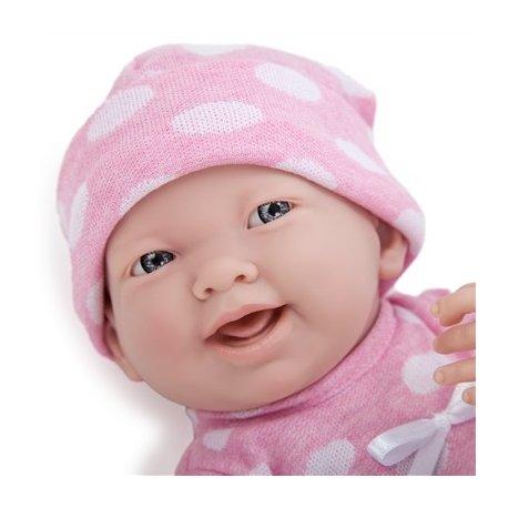 Lalka La Newborn, dziewczynka w różowym ubranku w grochy