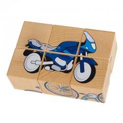 Drewniana Układanka Pojazdy, 6 klocków - Pilch 110091
