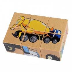 Drewniana układanka - Maszyny, 6 klocków - Pilch 110170