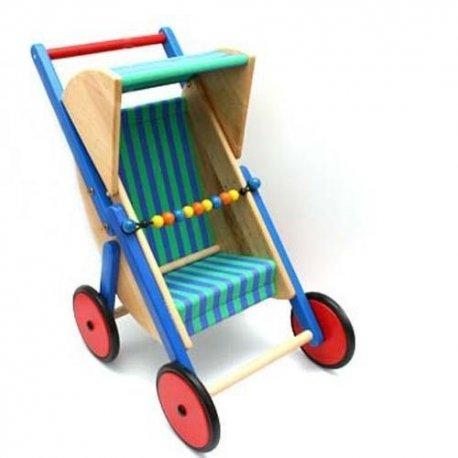 Drewniany wózek spacerówka dla lalek - Bajo 74210