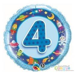 Balon Czwórka - Niebieski Balon z Helem na 4 Urodziny Chłopca