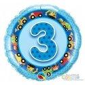 Balon Trójka - Niebieski Balon Urodzinowy z Helem 3 dla Chłopca