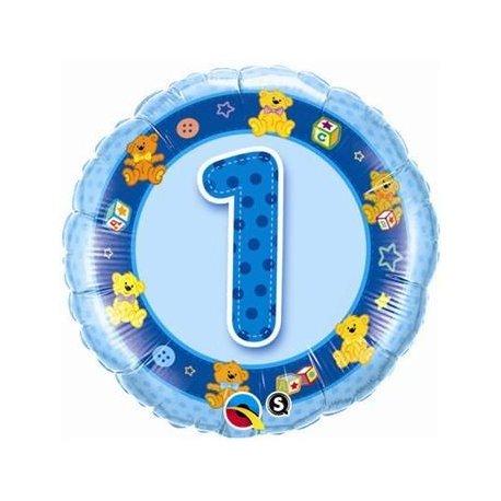 Balon urodzinowy z helem - niebieska Jedynka