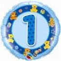 Urodzinowy Balon z Helem - Niebieska Jedynka