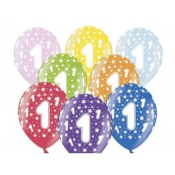 Balon 30cm Jedynka - lateksowy, różne kolory
