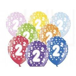 Balon 30cm Dwójka - lateksowy, różne kolory