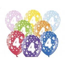 Balon 30cm Czwórka - lateksowy, różne kolory