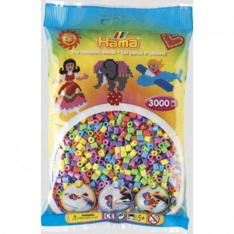 Hama 201-50 - Dodatkowe Koraliki midi, 3000szt, mix pastelowy