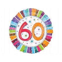Balon 60 Urodziny - Okrągły, foliowy balon