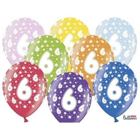 Balon 30cm Szóstka - lateksowy, różne kolory