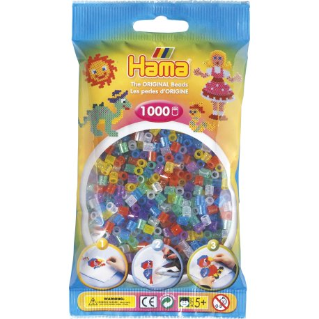 Hama 207-54 - Dodatkowe Koraliki midi, 1000szt, mix brokatowe